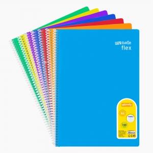 My Note - Mynote flex A4 100 Yaprak Spiralli Kareli Okul Defteri Düz Renk 3240