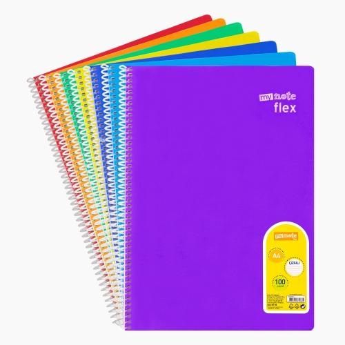 Mynote flex A4 100 Yaprak Spiralli Çizgili Okul Defteri Düz Renk 9885
