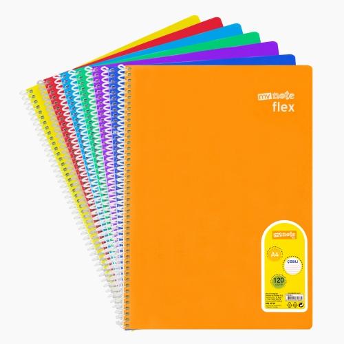 Mynote flex A4 120 Yaprak Spiralli Çizgili Okul Defteri Düz Renk 3257