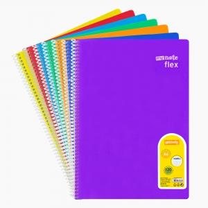 My Note - Mynote flex A4 120 Yaprak Spiralli Kareli Okul Defteri Düz Renk 3264