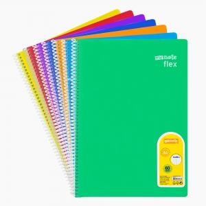 My Note - Mynote flex A4 60 Yaprak Spiralli Kareli Okul Defteri Düz Renk 8550