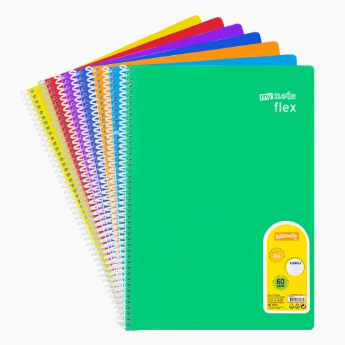 Mynote flex A4 60 Yaprak Spiralli Kareli Okul Defteri Düz Renk 8550