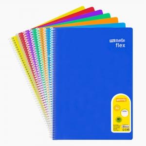 My Note - Mynote flex A4 80 Yaprak Spiralli Çizgili Okul Defteri Düz Renk 2953