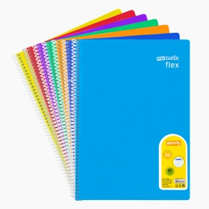 My Note - Mynote flex A4 80 Yaprak Spiralli Kareli Okul Defteri Düz Renk 3042