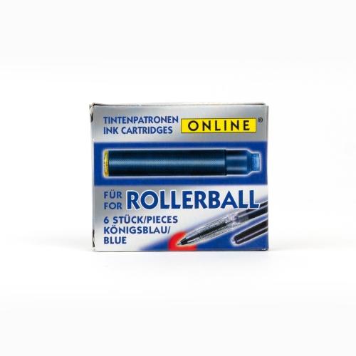 Online Standart Roller Kalem Kartuşu Kısa 6'lı Mavi 0002