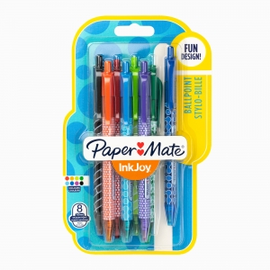 Paper Mate - Paper Mate Ink Joy 100 RT 1.0 8'li Tükenmez Kalem Seti 8744