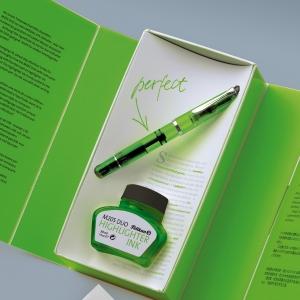 Pelikan - Pelikan M205 Duo İşaretleme Dolma Kalemi ve Mürekkep Set Yeşil (1)