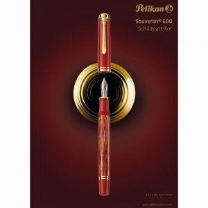 Pelikan Souverän M600 Tortoiseshell-Red Special Edition Dolma Kalem B Uç - Thumbnail