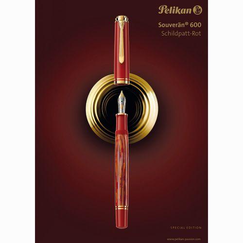 Pelikan Souverän M600 Tortoiseshell-Red Special Edition Dolma Kalem EF Uç