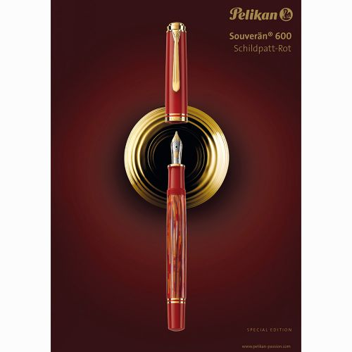 Pelikan Souverän M600 Tortoiseshell-Red Special Edition Dolma Kalem F Uç