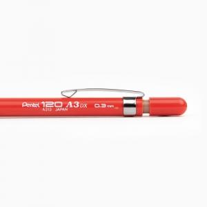 Pentel 120 A3DX 0.3 mm Mekanik Kurşun Kalem Kırmızı A313-B 3003 - Thumbnail