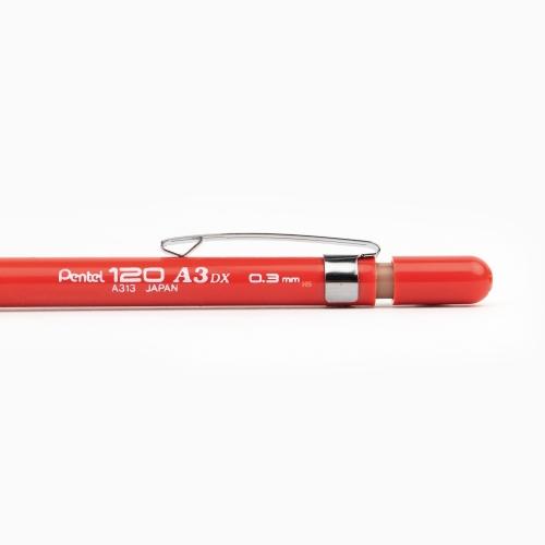 Pentel 120 A3DX 0.3 mm Mekanik Kurşun Kalem Kırmızı A313-B 3003