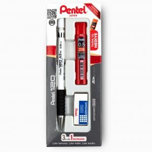 Pentel - Pentel 120 A3DX 0.5 mm Mekanik Kurşun Kalem Seti Beyaz