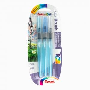 Pentel - Pentel Aqua Brush 3'lü Su Hazneli Fırça (Fine, Medium, Broad) 8841