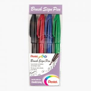 Pentel - Pentel Touch Brush Sign Pen 4′lü Set Ana Renkler
