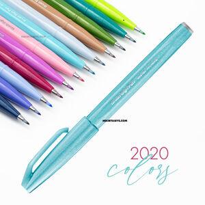 Pentel Brush Sign Pen Touch Pale Blue SES15C - Thumbnail
