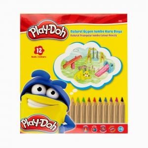 Play Doh - Play-Doh 12'li Naturel Üçgen Jumbo Kuru Boya Seti PLAY-KU009 5258