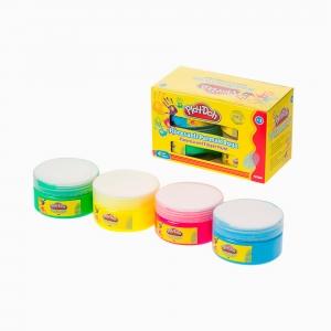 Play Doh - Play-Doh 4'lü Floresanlı Parmak Boya Seti PLAY-PR016 5579 (1)