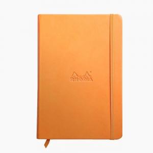 Rhodia - Rhodia Hardcover Deri Kapak A5 Çizgili Defter Turuncu 6084
