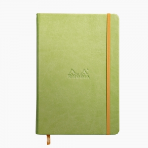 Rhodia - Rhodia Hardcover Deri Kapak A5 Çizgili Defter Yeşil 7463