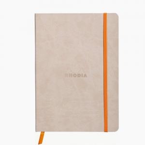 Rhodia - Rhodia Softcover Deri Kapak A5 Çizgili Defter Bej 4050
