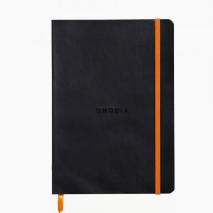 Rhodia - Rhodia Softcover Deri Kapak A5 Çizgili Defter Siyah 4029