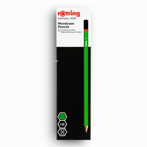 Rotring - Rotring 12′li HB Mercanlı Köşeli Ahşap Kurşun Kalem Yeşil 0656