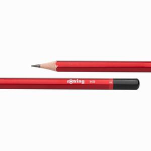 Rotring - Rotring HB Mercanlı Köşeli Ahşap Kurşun Kalem Kırmızı 0656 (1)
