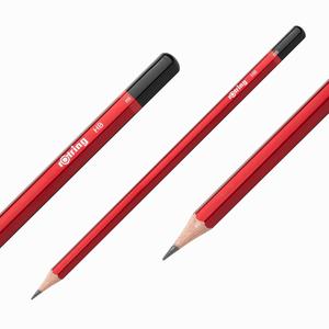 Rotring - Rotring HB Mercanlı Köşeli Ahşap Kurşun Kalem Kırmızı 0656