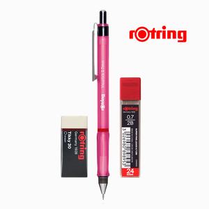 Rotring - Rotring Visuclick 0.7 mm Pembe Mekanik Kurşun Kalem, Min ve Silgi Seti 5314
