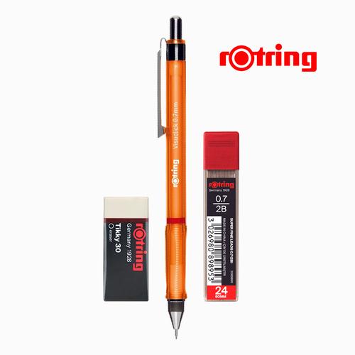 Rotring Visuclick 0.7 mm Turuncu Mekanik Kurşun Kalem, Min ve Silgi Seti 5291
