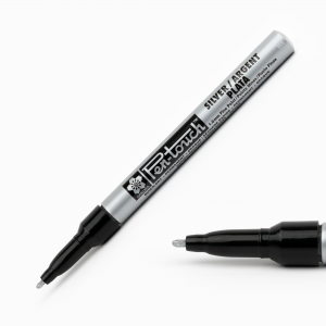 Sakura - Sakura Pen Touch 1.0 mm Fine Permanent Marker Metalik Gümüş 2802