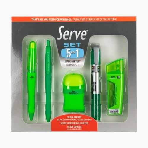 Serve 5'li Kırtasiye Seti Yeşil 3412