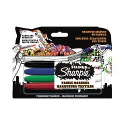 Sharpie - Sharpie Fırça Uçlu Tekstil Kalemi 4'lü