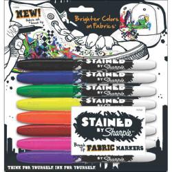 Sharpie - Sharpie Fırça Uçlu Tekstil Kalemi 8'li