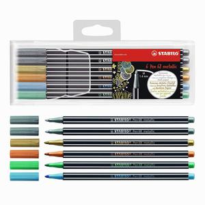 Stabilo - Stabilo Pen 68 6'lı Metalik 1.4 mm Keçeli Kalem Seti 6806/8-11 0309
