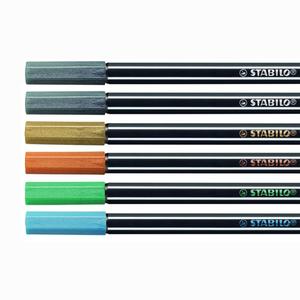 Stabilo - Stabilo Pen 68 6'lı Metalik 1.4 mm Keçeli Kalem Seti 6806/8-11 0309 (1)