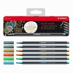 Stabilo - Stabilo Pen 68 6′lı Metalik 1.4 mm Metal Kutulu Keçeli Kalem Seti 6806/8-32 0323