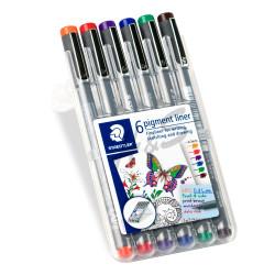 Staedtler - Staedtler Pigment Liner 6'lı Renkli Çizim Seti 0.3 mm