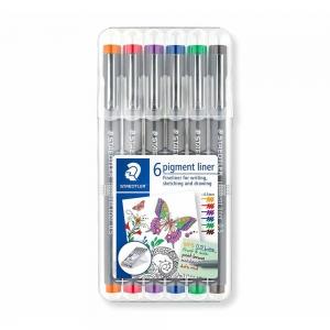 Staedtler - Staedtler Pigment Liner 6'lı Renkli Çizim Seti 0.5 mm 30805-SSB6 6761