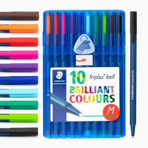 Staedtler - Staedtler Triplus Ball M Brilliant Colours 10'lu Tükenmez Kalem Seti 437 MBSB10 8855