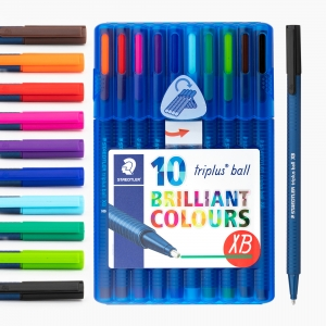 Staedtler - Staedtler Triplus Ball XB Brilliant Colours 10'lu Tükenmez Kalem Seti 437 XBSB10 8824