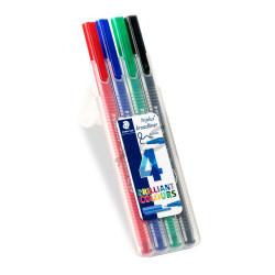Staedtler - Staedtler Triplus Broadliner Brilliant Colours 4'lü Set 0.8 mm