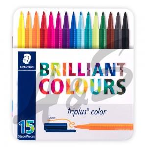 Staedtler - Staedtler Triplus Color Brilliant Colours 15′i Set Metal Kutu 7127