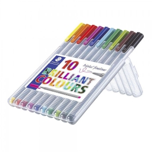 Staedtler - Staedtler Triplus Fineliner Brilliant Colours 10'lu Set 0.3mm 334 SB10 4010