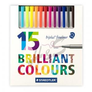 Staedtler - Staedtler Triplus Fineliner Brilliant Colours 15'li Set 0.3 mm