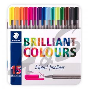 Staedtler - Staedtler Triplus Fineliner Brilliant Colours 15'li Set Metal Kutu