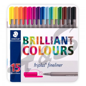 Staedtler - Staedtler Triplus Fineliner Brilliant Colours 15'li Set Metal Kutu