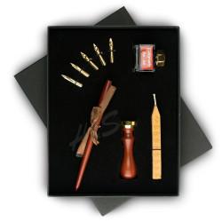 Steelpen - STEELPEN Calligraphy SK-090 Ahşap Kalem ve Mühürlü Set