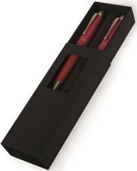 Steelpen - Steelpen Pearl Gold-Kırmızı Dolma Kalem-Tükenmez Kalem Set
